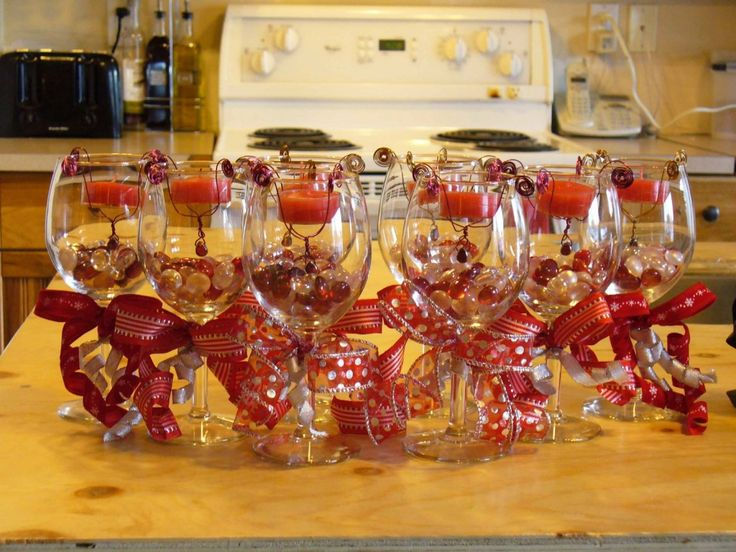164 best wine kitchen theme images on pinterest for Wine glass table decorations