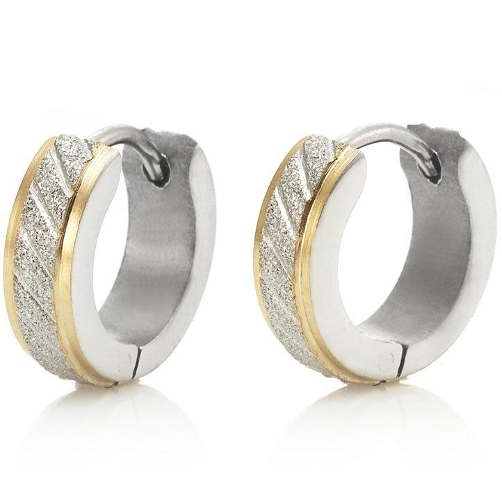 Sparkling Stainless Steel Mens Hoop Earrings Silver Gold Rnbjewellery