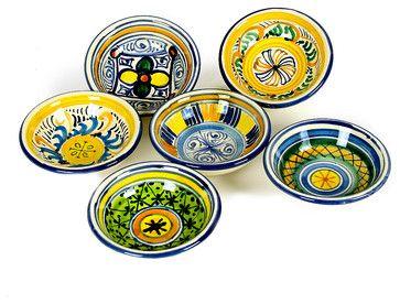Toscana Olive Oil Dipping & Condiment Bowls, Set of 6 - mediterranean - Serveware - Artistica Italian Gallery