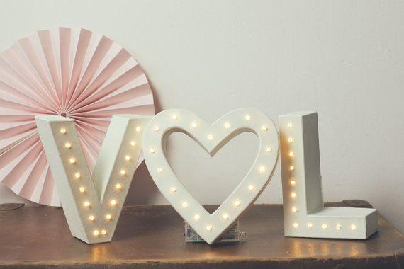 Wedding sign wedding letters light up initials  Initials &
