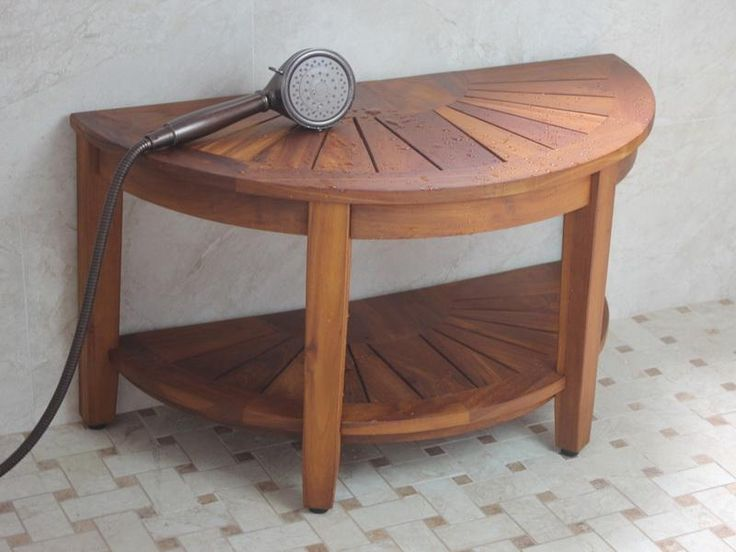 Teak Half Moon Shower Stool For Shaving Picture listed in:
