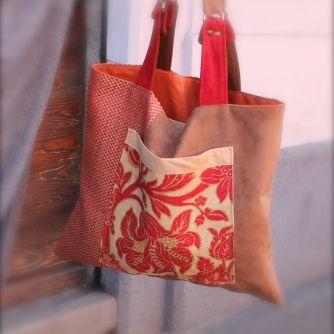 Tote. Guayaba by Tekoa Milano. Borsa artigianale fatta a mano. Borsa in tessuti di arredo e pelle. Pezzo unico.