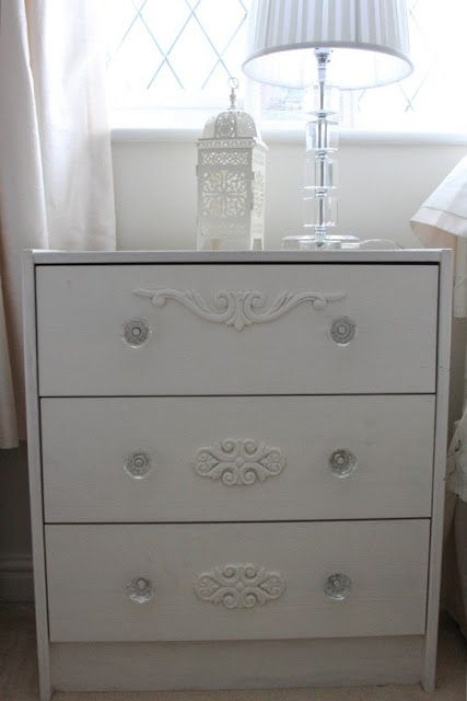 Materials: Ikea RAST Chest of 3 Drawers Description: A plain IKEA RAST PINE 3 drawer cupboard was the perfect size for a shabby chic French style spare bedroom.