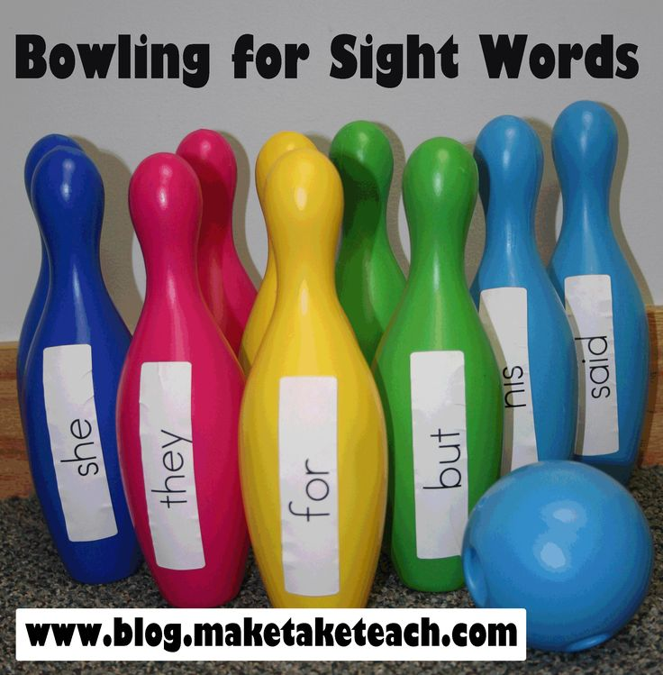 Bowling For Sight Words | Make, Take & Teach Make a sheet of the sight words for each of the students, and when they knock a pin down and read it, they get a marker dot on that word. They will want to get them all, thus facilitating highly motivated learning. :)