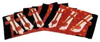 Asian placemat set, chinese red by Reorient. $39.95. Set of 6 placemats, chopsticks, napkins, and napkin rings. Traditional red and black brocade fabric with longevity symbol. silk rayon blend for easy care. Great for festive entertaining. Made in China. Give your dining table an Asian flavor with Reorient's table top sets.  The six setting package comes with place mats, napkins, napkin rings, and wooden chopsticks.  The place mats are made from a traditional ...