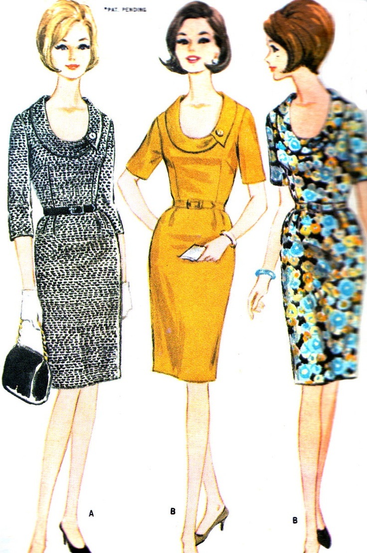 Vintage Sewing Pattern 1960s McCall's 8101 Plus Size Mad Men Sheath Dress with Slim Skirt and Cowl Neck -- beautiful neckline!