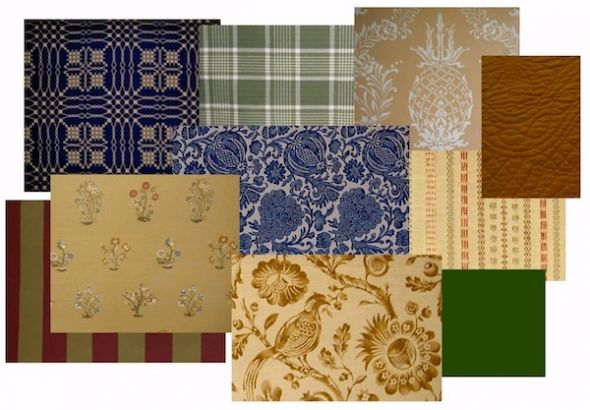 An array of fabrics and wallpaper suitable for American Colonial period interiors.