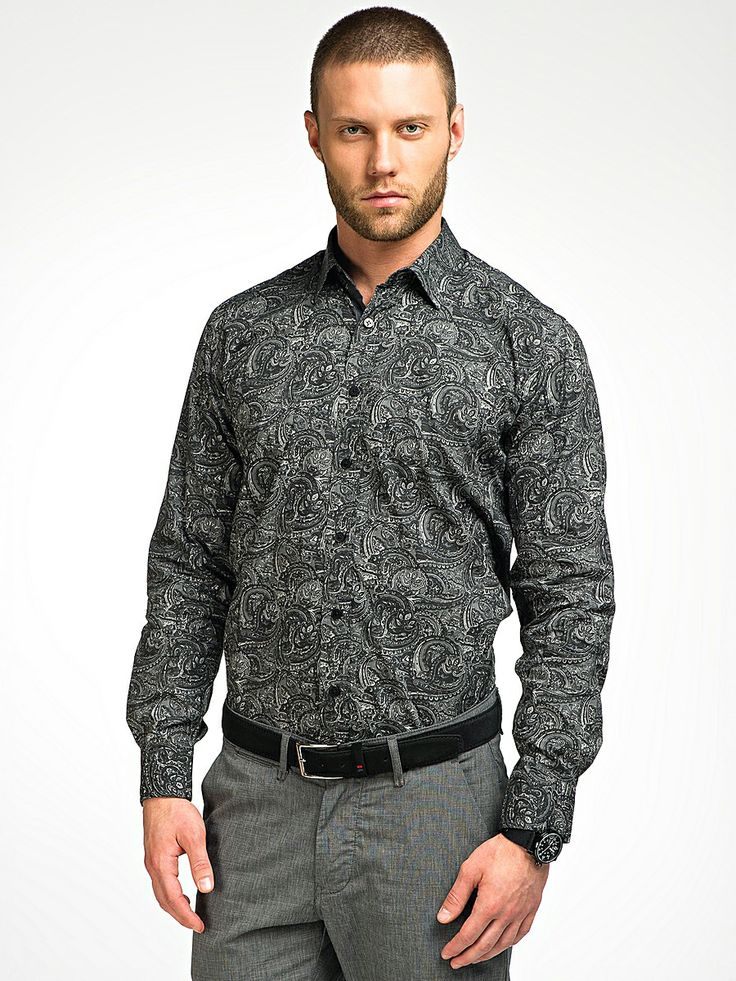 M277411.  Classic long sleeves shirt with a tinge of casual on the pocket. Made from very fine 100% cotton printed with our classic paisleys, which will carve out a powerful man out of you.   All time bestseller made in various shades of grey.