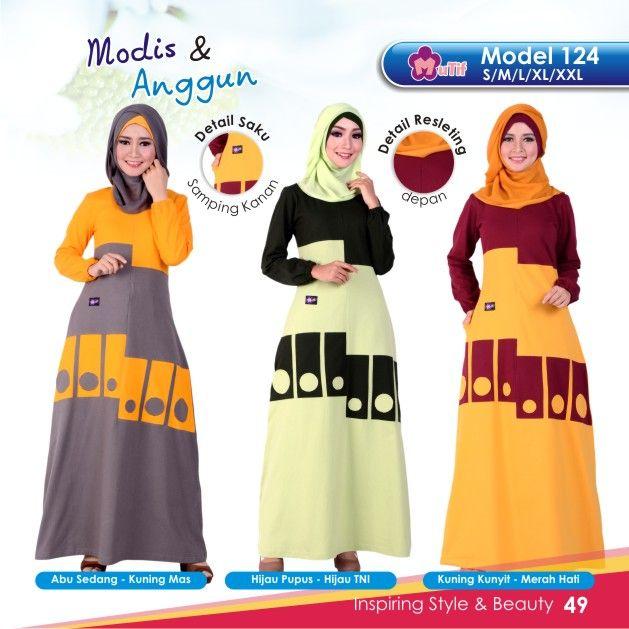 """Gamis Mutif 124 cocok untuk wanita yang ingin tampil""""Simple & Beauty"""",praktis dan nyaman digunakan dengan bahanKatun Combedyang nyaman dan tidak panas"""