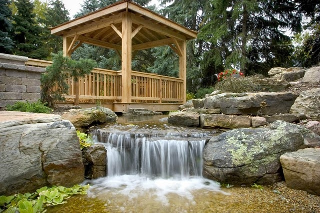 Floating Deck with WaterfallGardens Ideas, Water Features, Floating Decks, Dreams Backyards, Plays Area, Pondless Waterfall, Outdoor Spaces, Ideal Plays, Backyards Waterfal