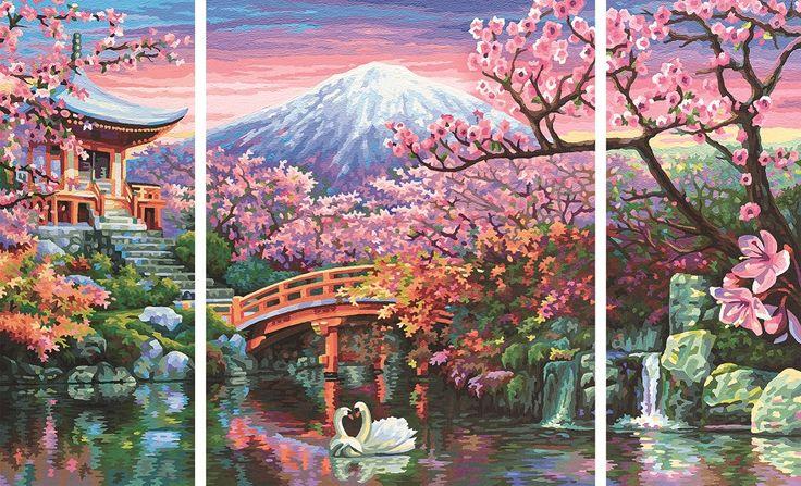 Schipper 609260751 Malen nach Zahlen Kirschblüte in Japan (Triptychon)