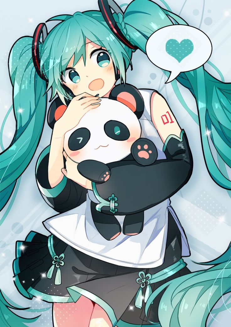 Hatsune Miku con un panda