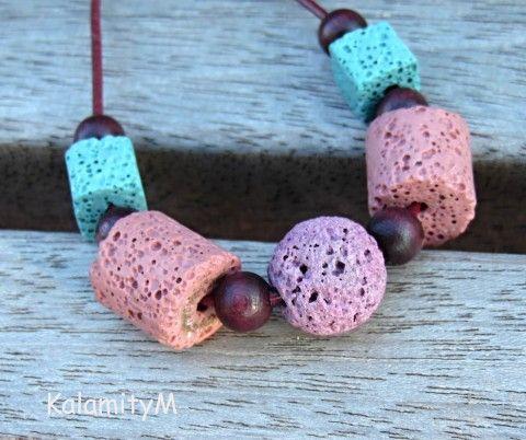 Brhlík - lávový náhrdelník náhrdelník dárek modrá růžová fialková lávové korálky