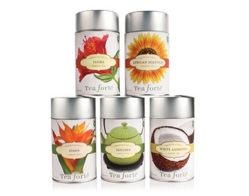 tons of variety in these loose leaf tea canisters including:   hazelnut truffle  raspberry nectar  and many more