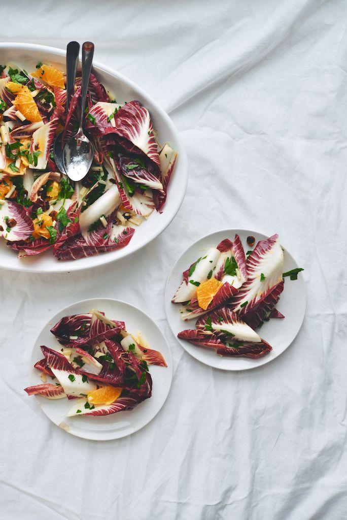 Trevisano and Blood Orange Salad with Toasted Hazelnuts, Pecorino, and Hot Honey