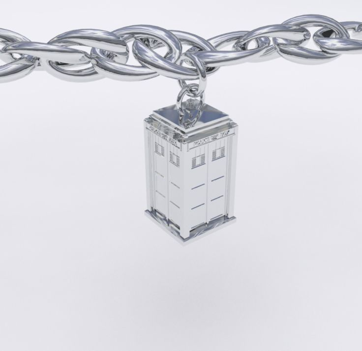 Silver TARDIS Charm. Harlequin Goldsmiths. Doctor Who jewelry