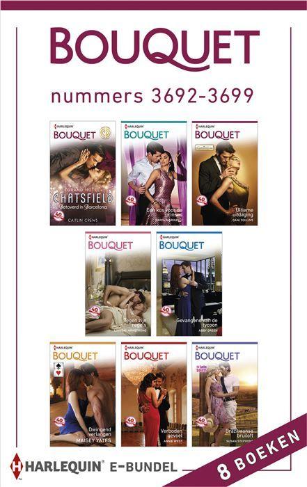 Bouquet e-bundel nummers 3692-3699 (8-in-1)  Kiest u voor gemak én extra voordeel? Met deze bundel heeft u in één keer alle acht Bouquet-romans (nummers 3692 t/m 3699) van de maand in handen. Zo kunt u lekker doorlezen en nog gemakkelijker genieten van uw favoriete reeks! (1) BETOVERD IN BARCELONA - (Grand Hotel Chatsfield) Als Holly Theo Tsoukatos om een ontmoeting vraagt eist de Griekse magnaat dat deze plaatvindt in het Chatsfield in Barcelona - waar het allemaal begon... (2) EEN KUS VOOR…