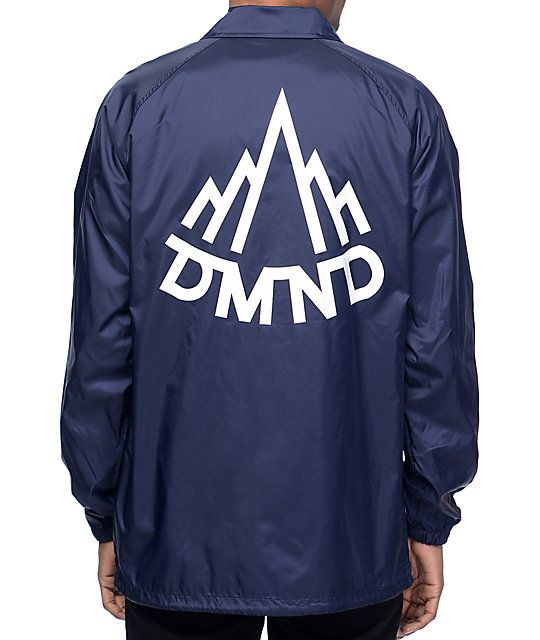 Add a fashionable layer to your outfits with the Mountaineer navy coaches jacket from Diamond Supply Co that has a lightweight lining to keep you comfortable and DMND graphics printed at the left chest and on the back.