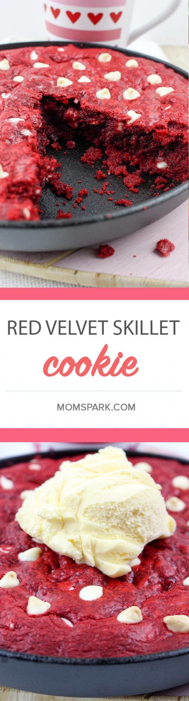 Red Velvet Skillet Dessert Cookie Recipe - What is it about red velvet that makes it so very delicious? All I know is that I want red velvet with every dessert for Valentine's Day. I'm also cool with it having another sweet counterpart, like white chocolate chips. Oh, and why not put all of that into a cookie skillet, too?…