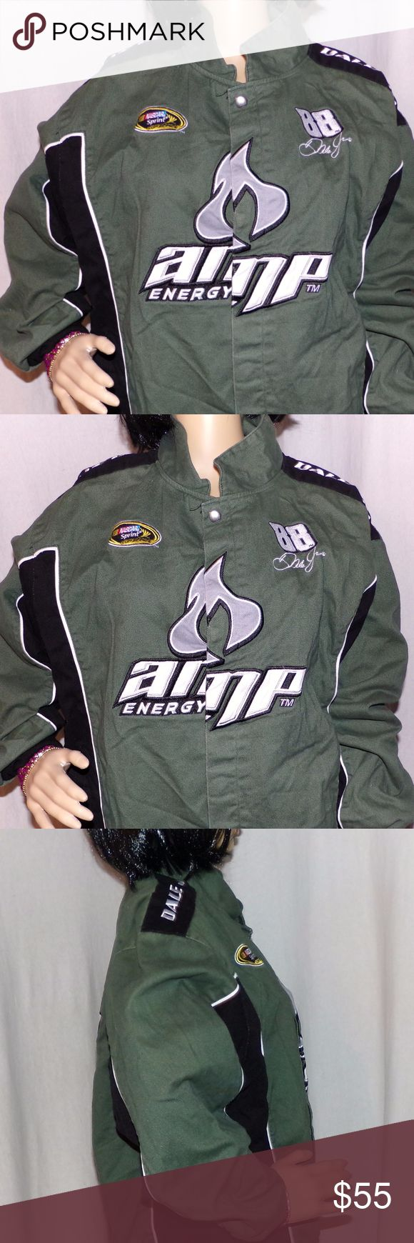 Dale Earnhardt Jr 88 Drivers Jacket AMP NASCAR Dale Earnhardt Jr 88 Drivers Jacket Embroidered Amp Energy Vintage Jacket size L LOW & FAST Shipping. This is from the early 2000's and it is from a collection. It is made by Winner's Circle and is in excellent vintage condition! This is a green and black and Embroidered on the front and back. NASCAR collectible and made of 100% Cotton on the outside and 100 % Polyester on the inside and has metal snaps. This was very expensive! Remember 2…
