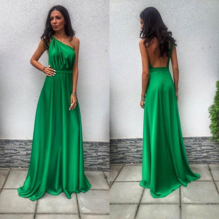 Rochie de seara lunga cu spatele gol pe un umar Odiana Verde Comanda online: www.fashion8.ro/rochii