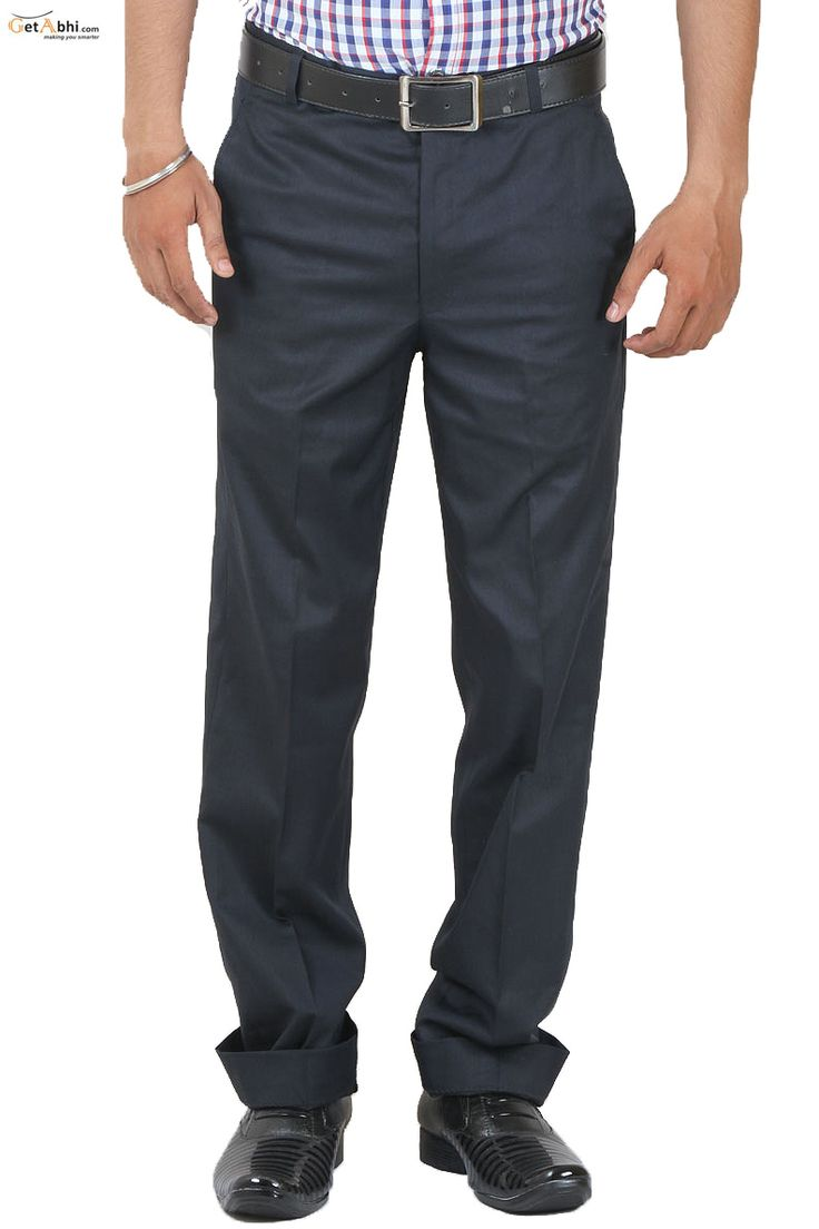Navy Blue Formal @#nthetics #Trouser has a Waistband with Belt loops. A zippered fly, Pitch Pocket on the front sides, Welt Pockets with Button Cloture on the back. Pair this trouser with white or Checks Shirt With Black formal shoes.