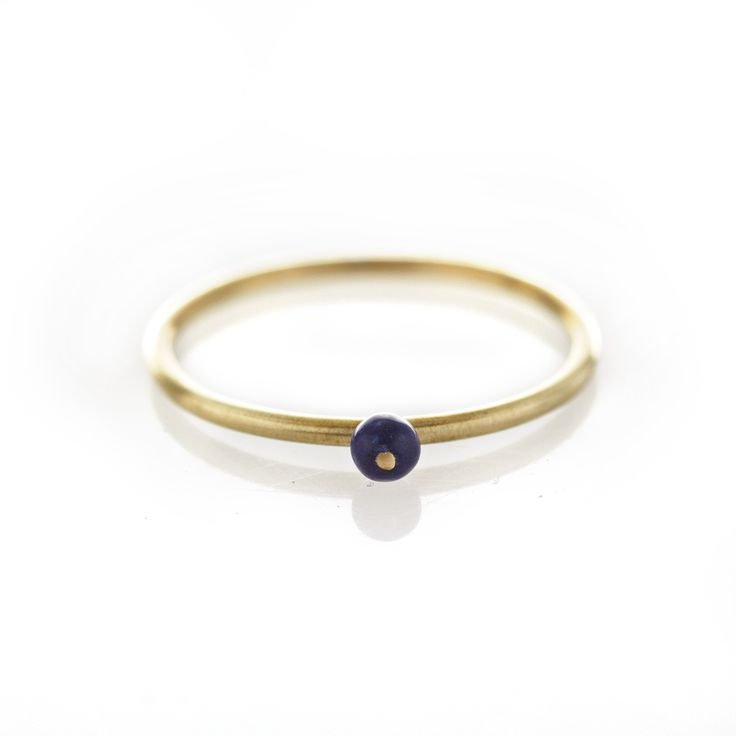 Lapis lazulite brass ring