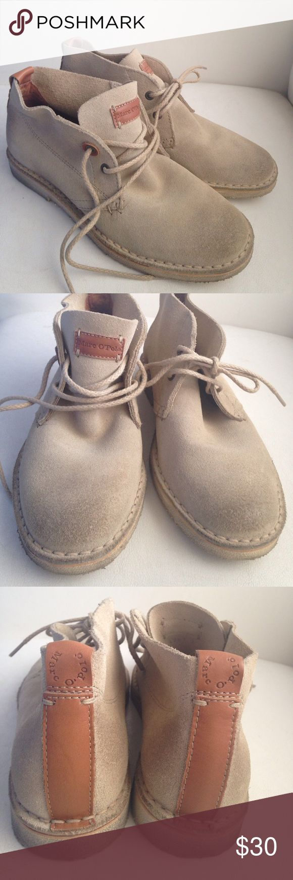 Suede Desert Boot These super cute desert boots are made of soft suede with light brown leather accents, looks great with anything denim. An updated version of a Clark shoe these are made in Italy by a european brand named Marc O'Polo. Casually elegant these look great with cargo shorts as well as floral dresses!! These are a size 6 and true to size, rubber sole ensures long wear! I wore these once only before realizing that they are too small! Shoes Lace Up Boots