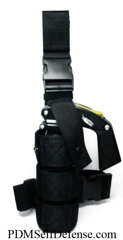 Use the MK 16 oz Nylon Leg Holster with the Police Magnum 16 oz Pistol Grip Pepper Spray - (SKU) - PM16PG $22.96