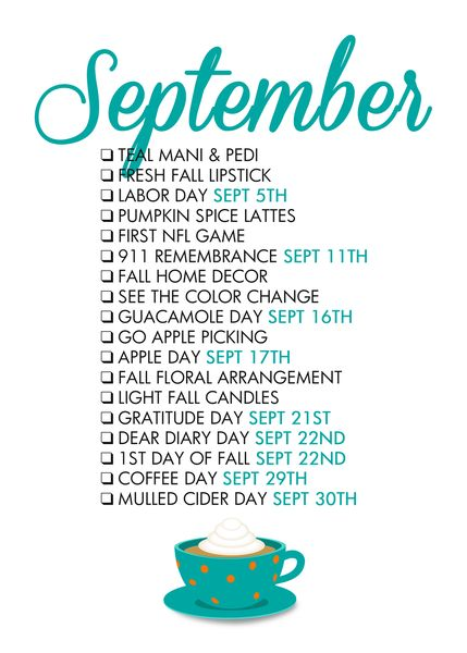 September Seasonal Living List September's kinda looking like my month.