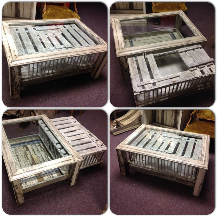 Repurposed Chicken Crate Coffee Table. Thick Glass Sits On Top For A Nice  Smooth Surface