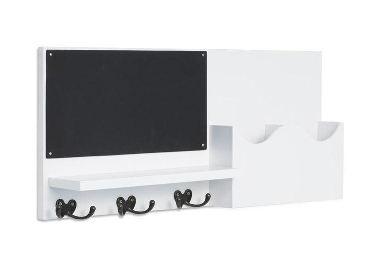Porta-Cartas com Quadro Negro Recado - Branco Laqueado