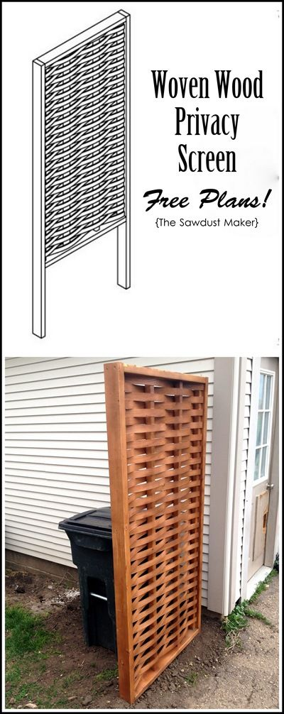 Diy privacy screen with woven wood the sawdust maker for Wooden garden screen designs