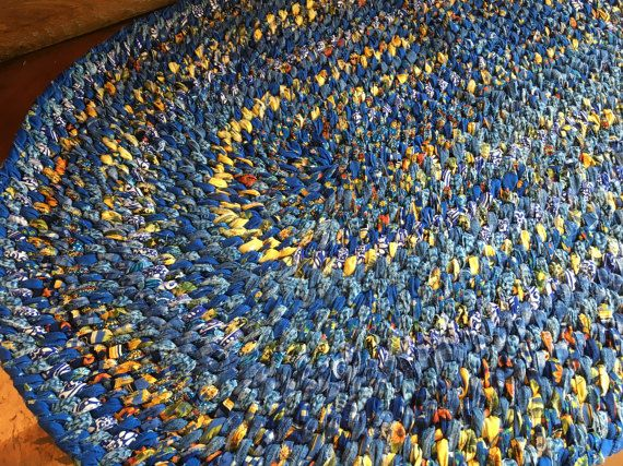 Hand Braided Rag Rug  Blue Yellow Patchwork by StudioatRedTopRanch