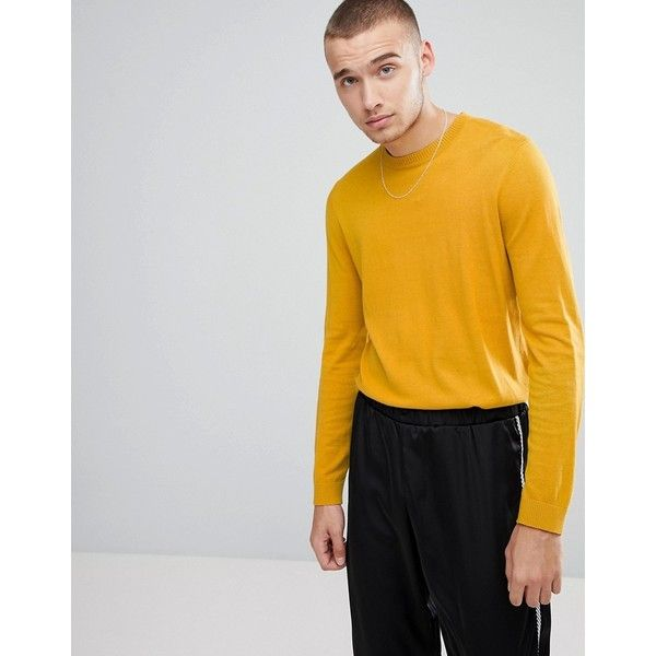 ASOS Crew Neck Cotton Jumper In Mustard (387.375 IDR) ❤ liked on Polyvore featuring men's fashion, men's clothing, men's sweaters, yellow, mens yellow sweater, mens cotton crew neck sweaters, mens crew neck sweaters, mens cotton sweaters and mens mustard sweater