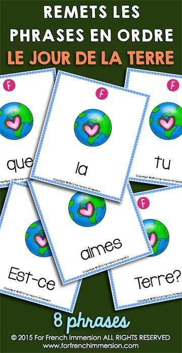 French Earth Day Scrambled Sentences - le jour de la Terre en français