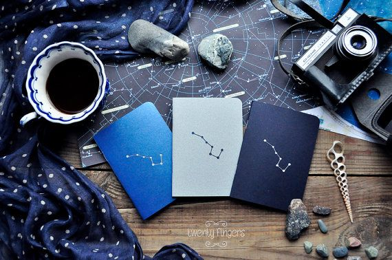 """Night notebook-sketchbook with a carved pattern - constellation """"Ursa Major"""" - set of 3 notebook (small size)"""