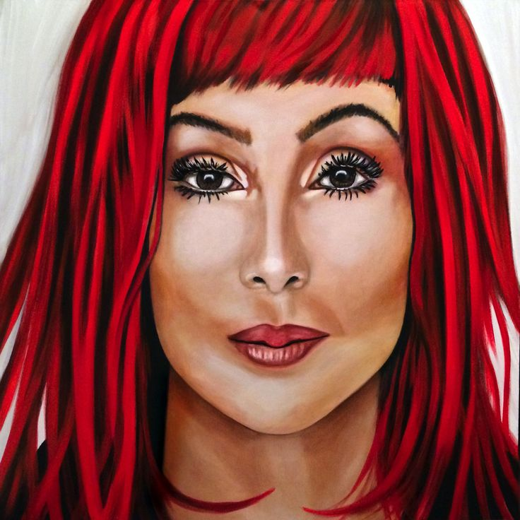 "30"" X 30"" painted on a gallery wrapped canvas. Cher in a red wig! The color is a mix of deep hue reds with a splash of neon red."