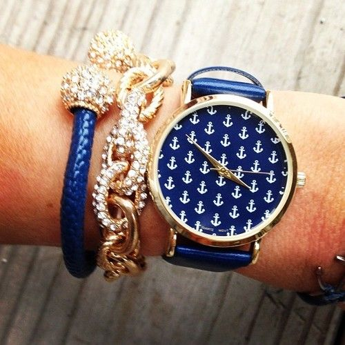 Anchor patterned watch and rhinestone bracelet: http://www.shamelesslysparkly.com/Chain-Link-Bracelets-p/pave-link-bracelet.htm?utm_source=Pinterest&utm_medium=Pin&utm_campaign=Studentrate%20Pinterest