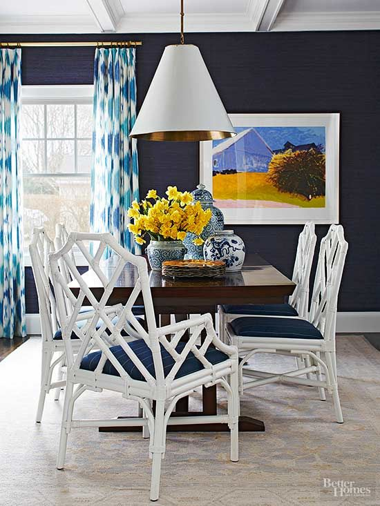 Get The Look 5 Unexpected Fall Colors That Flatter Every Setting Navy Dining RoomsDecorating