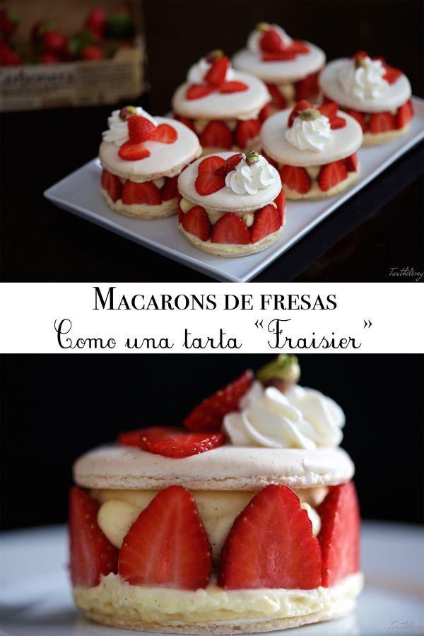 """Macarons de fresas, como una tarta """"Fraisier"""", paso a paso"""