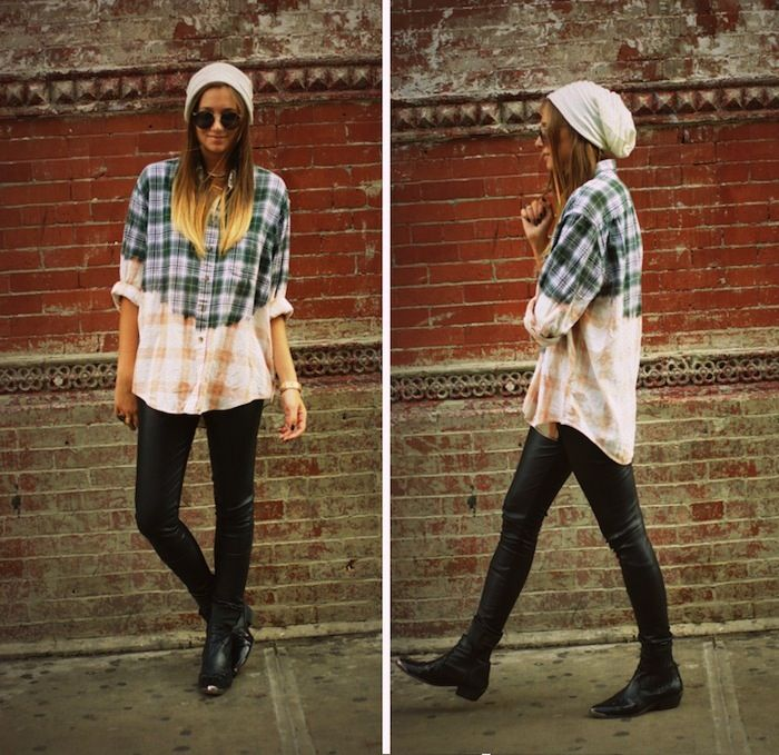 Flannel shirt dipped in bleach...cool vintage. Not the slouchy hat though...I can't pull that one off