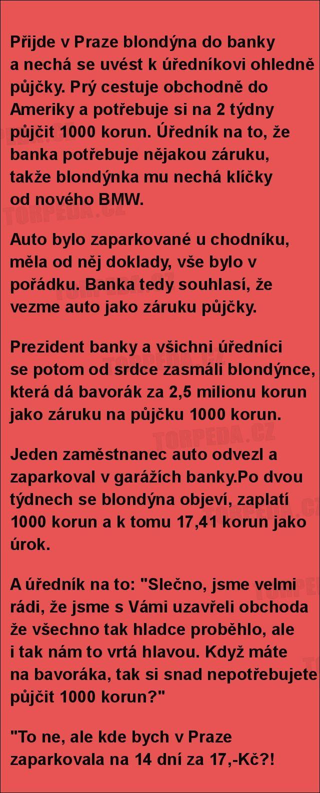 Přijde v Praze blondýna do banky... | torpeda.cz - vtipné obrázky, vtipy a videa