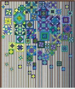 Si tratta di un quilt costituito da sei lunghe strisce A B C D E F ciascuna della misura di cm.25 x 180 (10'x 72'), unite a due a due in tre sezioni, formate da blocchi inseriti in un fondo a righe. ( ogni riga ha una larghezza di cm.2,5 (1')) In una prima fase …