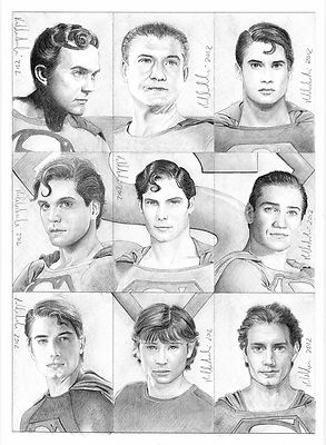 Men of Steel:  9 card disegnate a mano sui Superman cinematografici e televisivi, in vendita su eBay!  9 ACEO, pencil drawings about Superman actors! Selling on eBay!