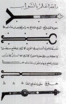 This is a picture of Medieval Muslim surgical instruments. Khalifa bin Abi I Mahansin wrote and illustrated a book about different medical instruments used for several different eye conditions. The process of using a magnet to remove fragments of an iron needle was also described in his book. However, some of the Islamic oculist techniques were often crude and misguided. -evalerie