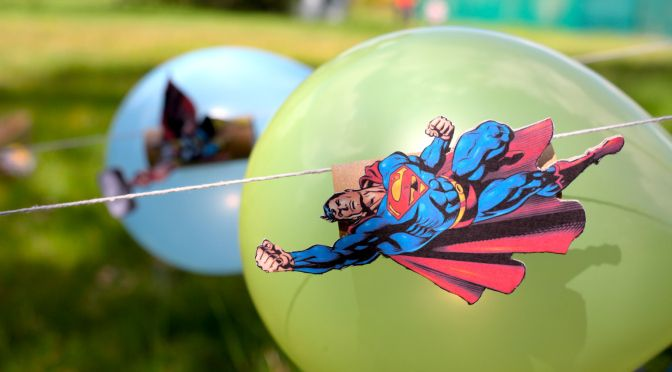 Superman Vs Thor Balloon Rocket Racers. Host the race of the century with nothing more than some string, some cardboard, balloons and a lot of hot air! A great activity for kids this summer.