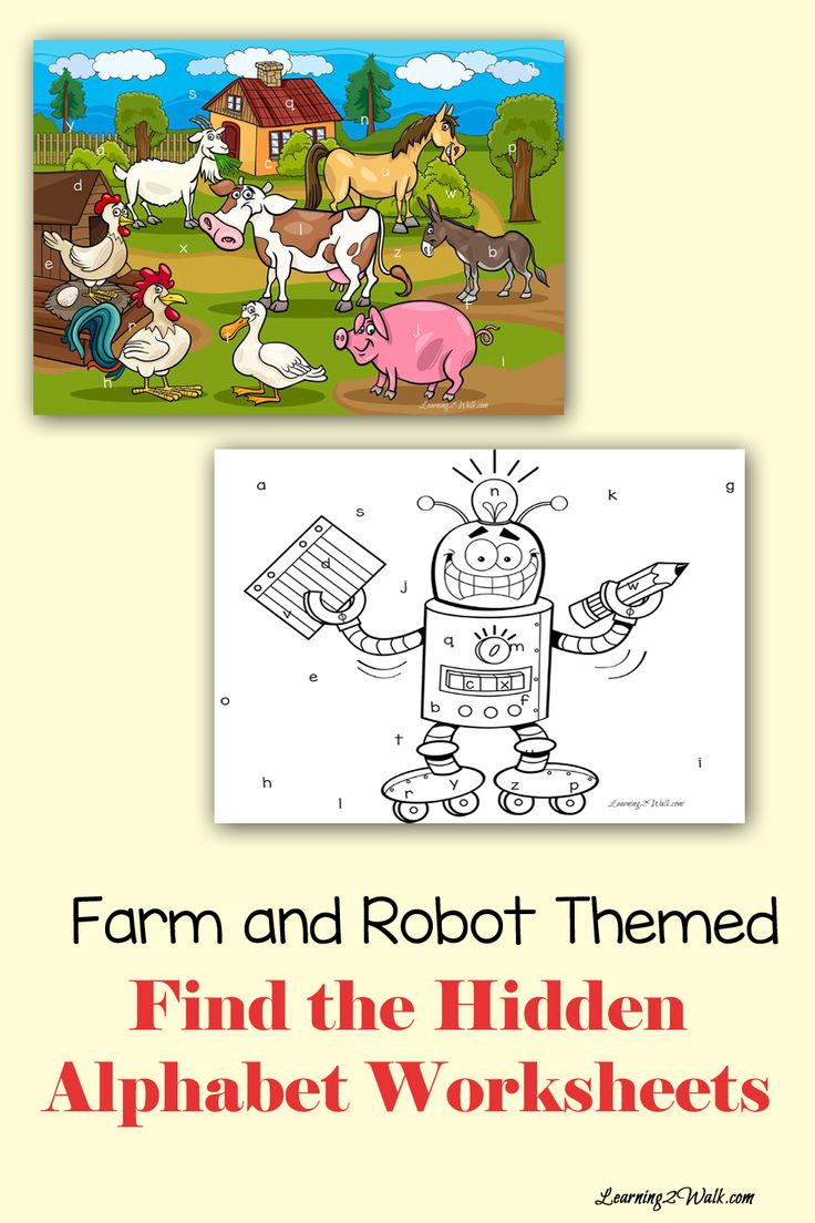 Working on letters of the alphabet? Use these farm and robot alphabet worksheets to help your kids work on letter recognition- its also a fun activity when you use a magnifying glass