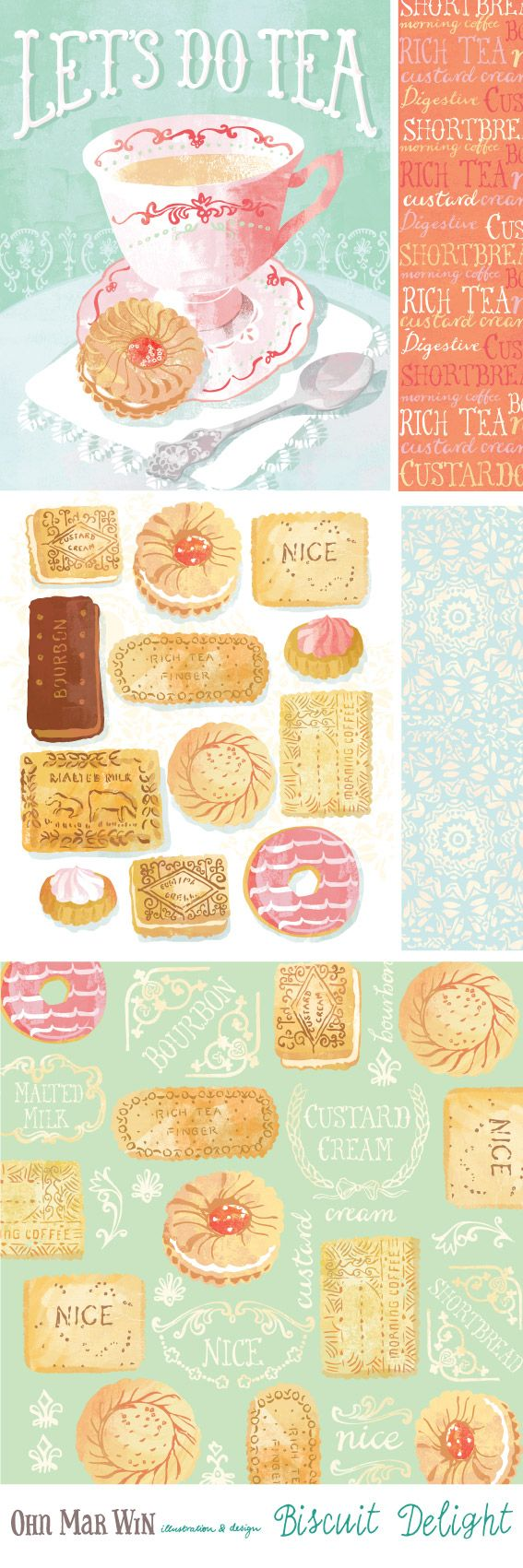 I have a ever growing selection of FOOD AND DRINK English tea British biscuits custard cream malted milk jammy dodger Ohn Mar Win Illustration