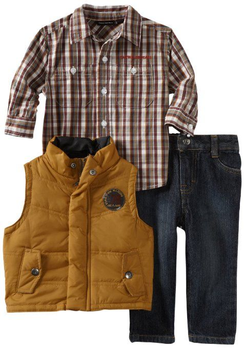 Calvin Klein Baby-Boys Infant Vest With Woven Shirt And Jeans: Amazon.com: Clothing